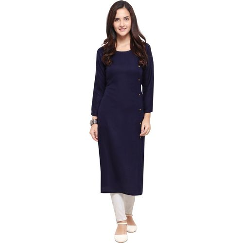 F Plus fashion Women Solid Straight Kurta(Dark Blue)
