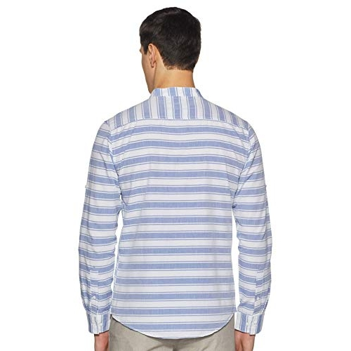 Diverse Blue Cotton Striped Long Sleeves Mandarin Collar Slim fit Casual Shirt