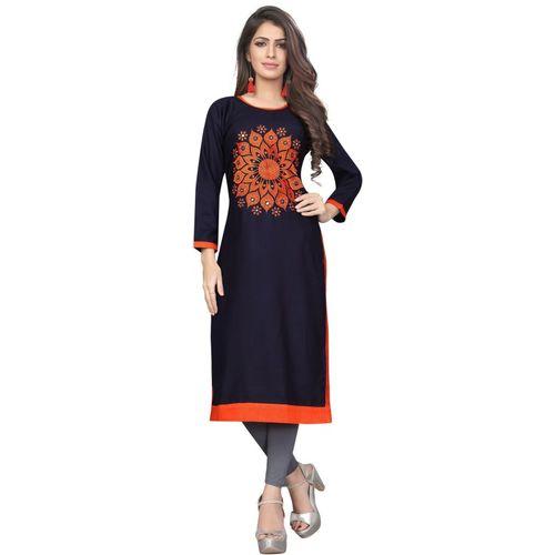 Saarah Women Self Design Straight Kurta(Dark Blue)