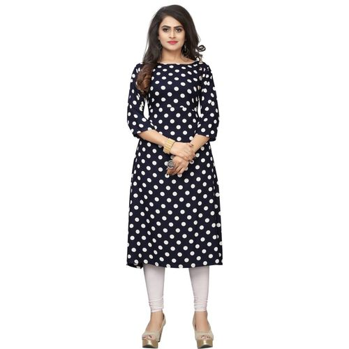Saarah Women Polka Print Straight Kurta(Dark Blue)