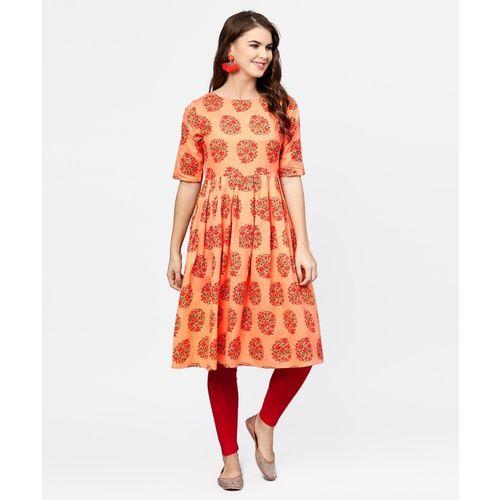 Aasi - House of Nayo Women Printed Anarkali Kurta(Orange)
