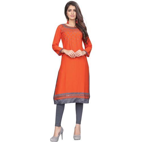 Saarah Women's Self Design Straight Kurta(Orange)