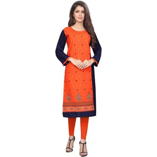 Saarah Women's Embroidered Straight Kurta(Orange)
