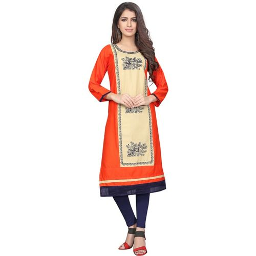 Saarah Women's Self Design Straight Kurta(Orange)