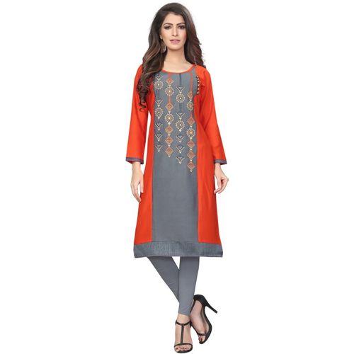 Saarah Women Self Design Straight Kurta(Orange)
