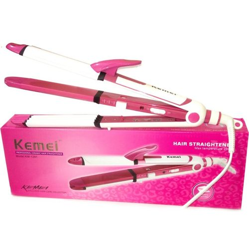 Kemei KM-1291 3 in 1 Professional Wet & Dry Hair Straightener 1291 3in1 Hair Straightener Cum Curler And Crimper Iron Hair Straightener(Multicolor)