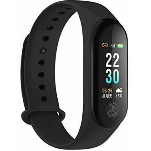 Buddymate M3 Bluetooth Support Wrist Fitness Band(Black Strap, Size : M)
