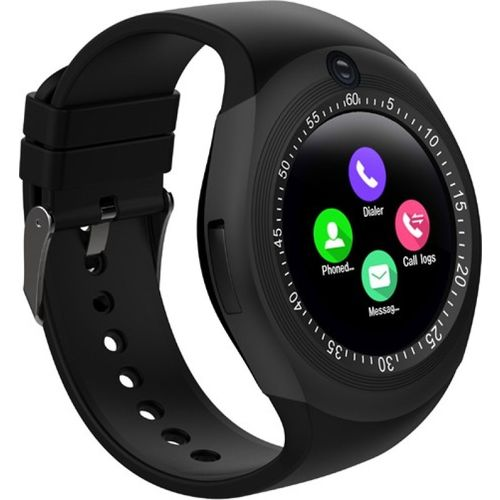 Life Like Y1s Bluetooth with sim & Tf card slot BLACK Smartwatch(Black Strap REGULAR)