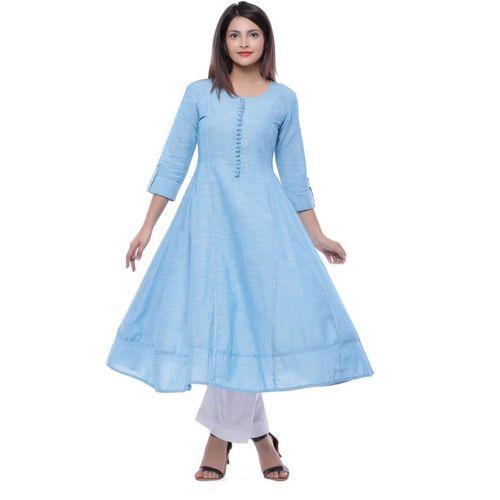 Ayan Women Solid Anarkali Kurta(Light Blue, Light Blue)