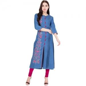 PINKY PARI Casual Embroidered Women Kurti(Blue)