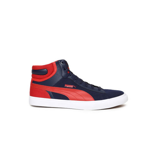 Puma Men Navy Blue & Red Colourblocked Hip Hop Mid Perf IDP Mid-Top Sneakers