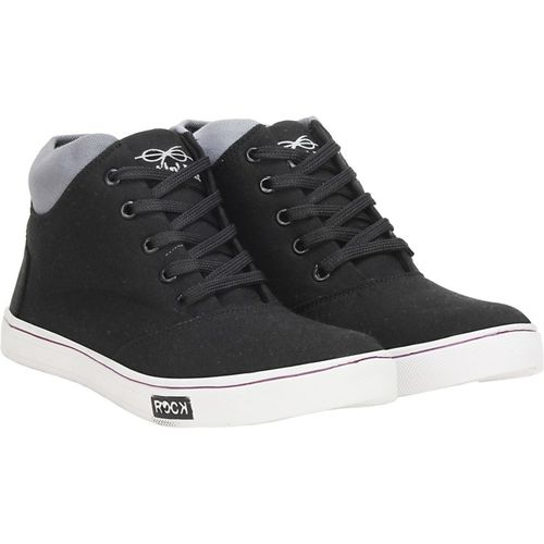 Knot n Lace Target High Tops For Men(Black, Grey)