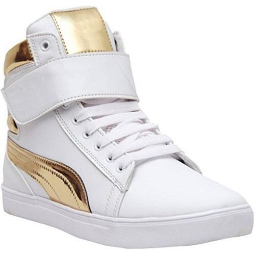 Shoe Island POPULAR Icon-X Designer Leatherette High Ankle Length Velcro White Shinning Gold Casual Dance Sneakers High Tops For Men(White, Gold)