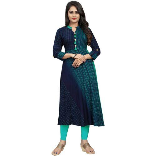 Saarah Women Self Design A-line Kurta(Green)