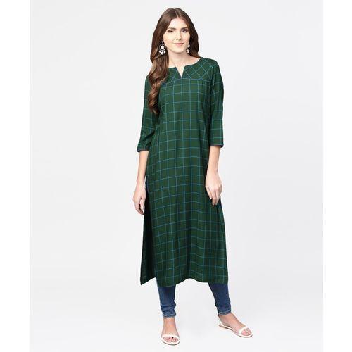 Jaipur Kurti Women Checkered Straight Kurta(Green)