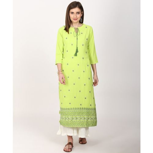 Vishudh Women Embroidered Straight Kurta(Green)