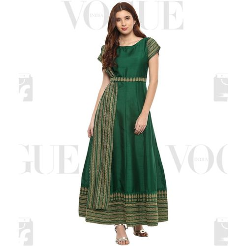Ahalyaa Women Paisley Anarkali Kurta(Green)