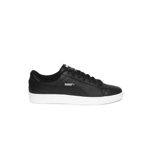 Puma Men Black Court Breaker Derby Leather Sneakers