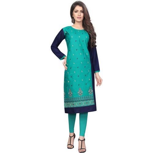 Saarah Women's Embroidered Straight Kurta(Green)