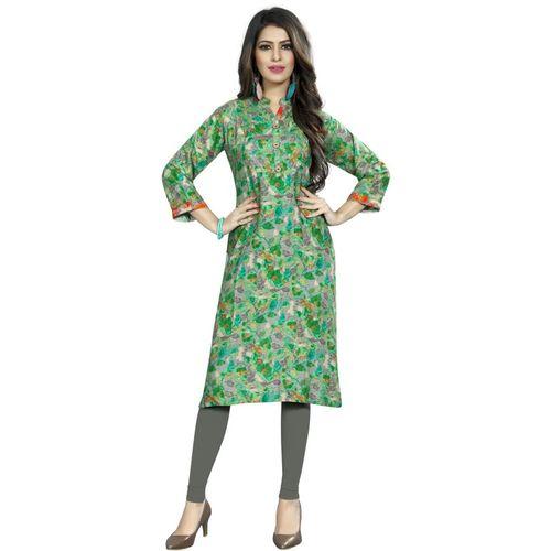 Saarah Women Abstract A-line Kurta(Green)