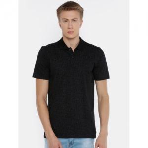 Jack & Jones Men Black & Charcoal Grey Printed Polo Collar T-shirt