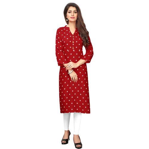Saarah Women Self Design Straight Kurta(Red)