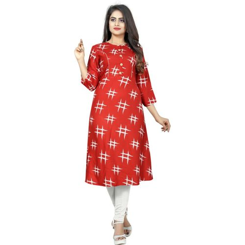 Saarah Women Printed A-line Kurta(Red)