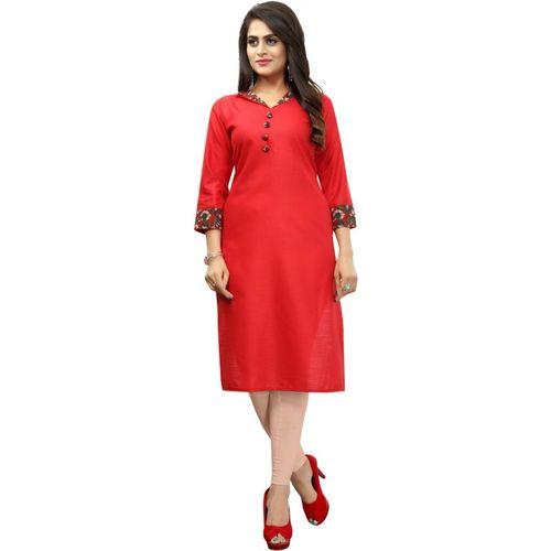 Saarah Women Floral Print Straight Kurta(Red)