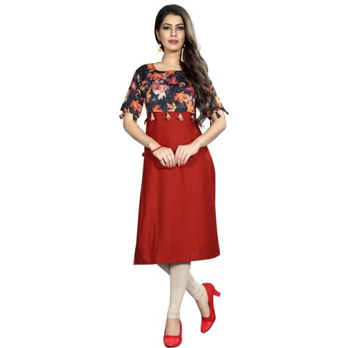 Saarah Women Printed A-line Kurta(Maroon, Black, Orange)