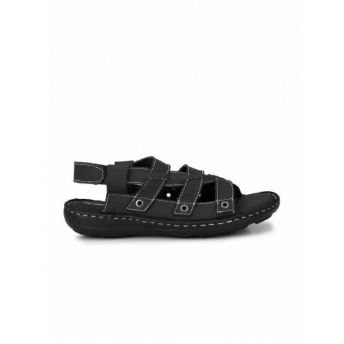 Sir Corbett Men Black Leather Comfort Sandals