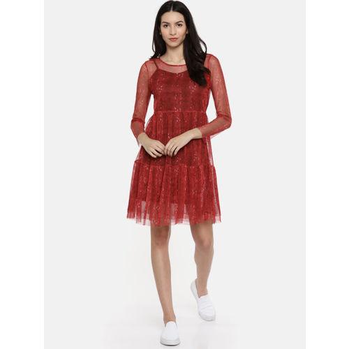Vero Moda Women Red Printed A-Line Sheer Dress