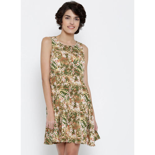 Vero Moda Olive Green & Yellow Polyester Printed Fit & Flare Dress