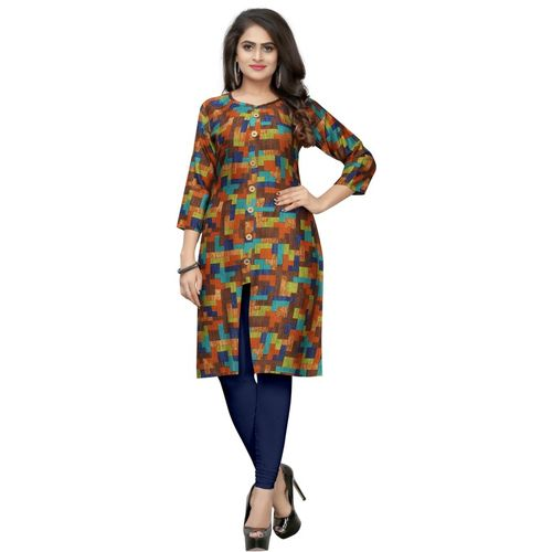 Saarah Women Self Design Frontslit Kurta(Brown)