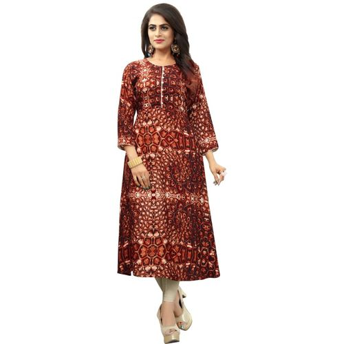 Saarah Women Self Design, Printed Straight Kurta(Brown)