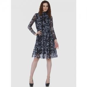 Vero Moda Black Printed Fit And Flare Dress