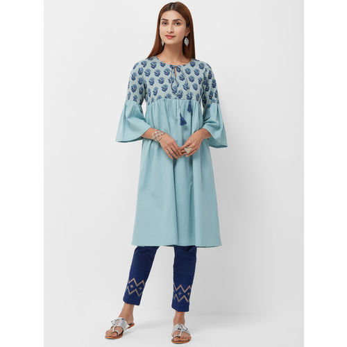 Naari Women Blue Printed Anarkali Kurta