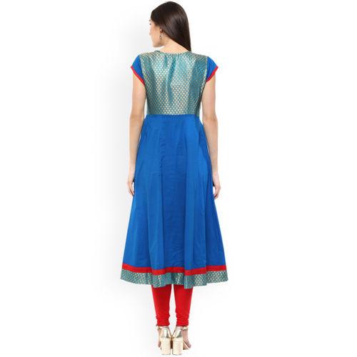 MBE Women Blue Printed Anarkali Kurta