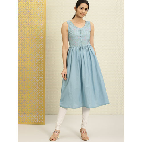 House of Pataudi Women Blue Printed A-Line Kurta