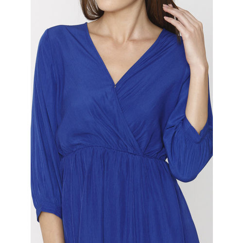 Vero Moda Women Blue Solid Fit and Flare Dress