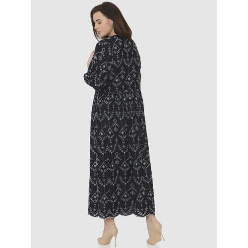 Vero Moda Women Navy Blue Self Design Maxi Dress