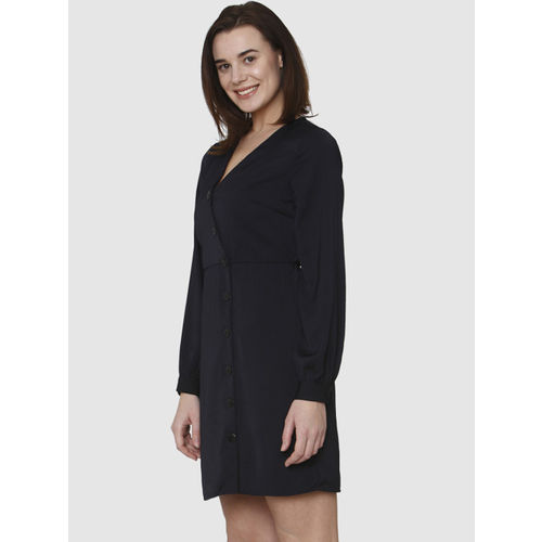 Vero Moda Women Navy Blue Solid A-Line Dress
