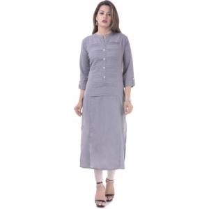 Febia Grey Cotton Solid casual Kurti