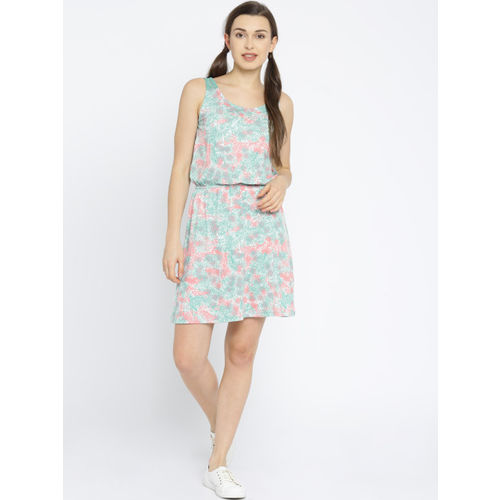 Vero Moda Women Green & White Fit & Flare Dress