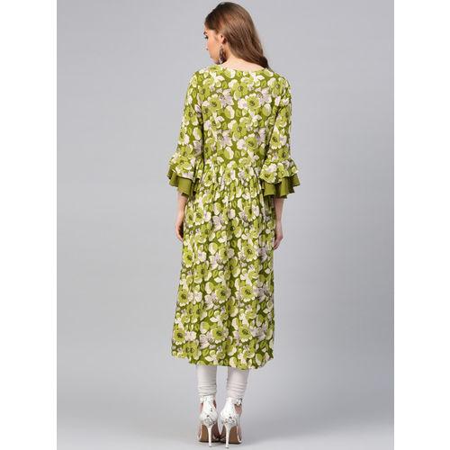 Shree Women Green & Beige Printed A-Line Kurta