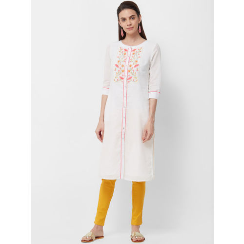 Naari Women Off White Embroidered A-Line Kurta