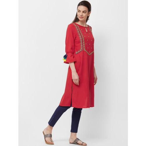 Naari Women Red Embroidered A-Line Kurta