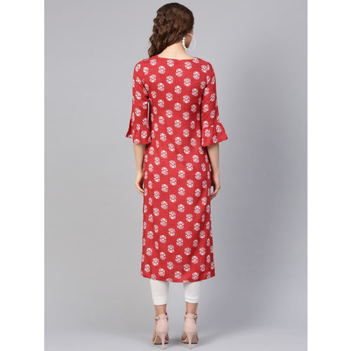 Libas Women Red & White Printed Straight Kurta