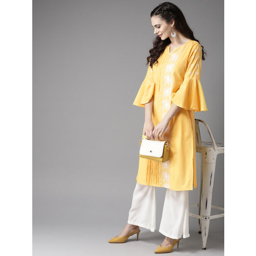 Moda Rapido Women Yellow & White Embroidered Straight Kurta