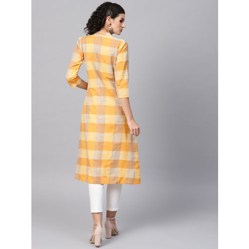 SOJANYA Women Yellow Checked A-Line Kurta