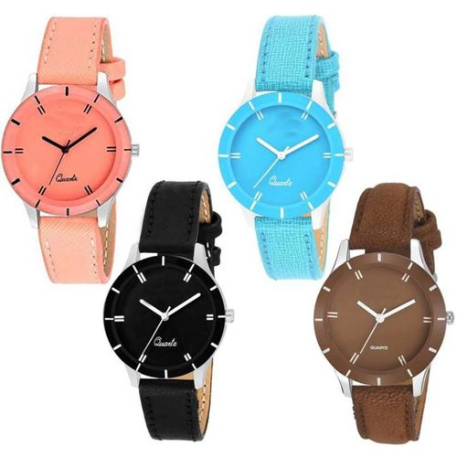 Royal Time 2019 Special Best Friends Combo Of Four Strap Floral Designer Multicolour UU-44 Women And Girls Analog Watch - For Women Analog Watch - For Women
